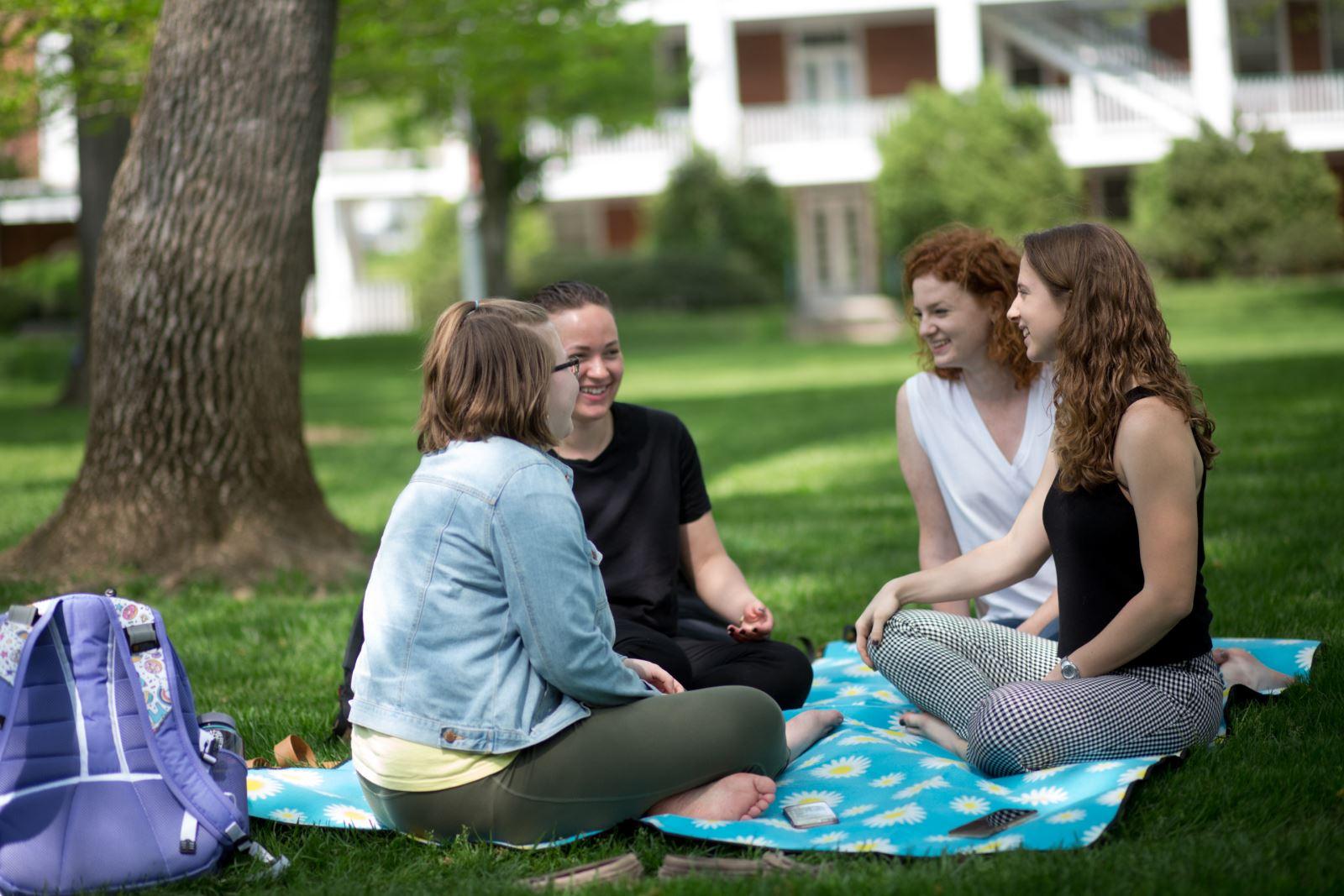 Girls sitting on front quad